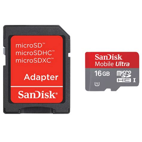 Micro Sd Card Class 10 Sandisk sandisk ultra microsdhc card uhs i class 10 48mb s 16gb with sd card adapter sdsdqua 016g