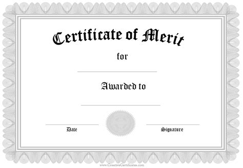 formal certificate of merit