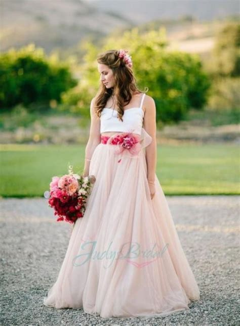 js401 stunning blush colored long flowing tulle wedding