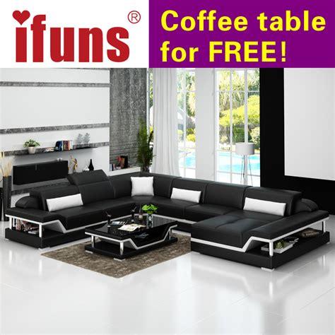 luxurious sofa sets aliexpress buy ifuns u shaped black genuine leather