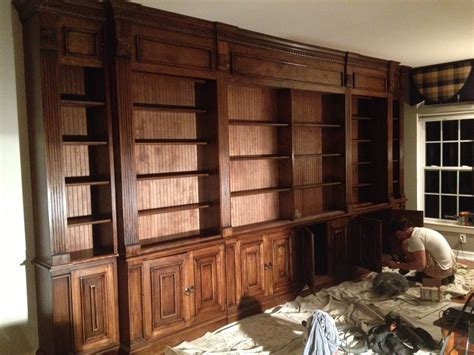 library built in bookshelves custom cabinetry the whistling elk