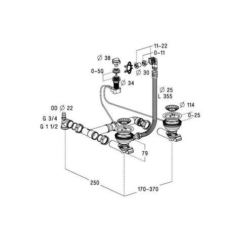 evier vidage automatique vidage complet automatique chrom 233 pour 233 vier 2 cuves 0204115
