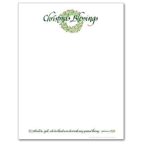 christmas blessings wreath christmas stationery