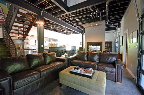 open industrial farmhouse industrial living room