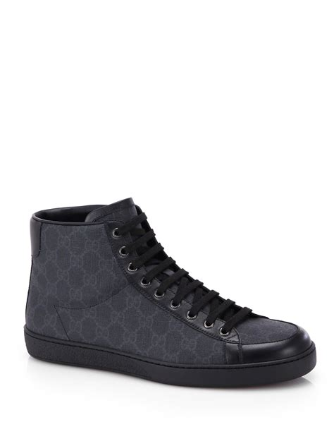 gucci mens high top sneakers gucci gg supreme canvas high top sneakers in black for