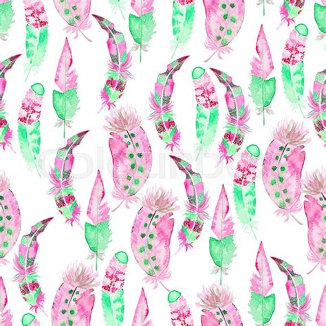 watercolor feather pattern seamless watercolor pattern with pink feathers vintage