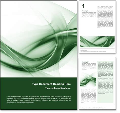 Royalty Free Abstract Curves Microsoft Word Template In Green Microsoft Word Doc Templates