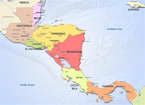 central america and the caribbean physical map central america political map