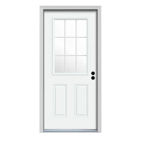 9 Lite Door by Jeld Wen 36 In X 80 In 9 Lite White Painted Steel