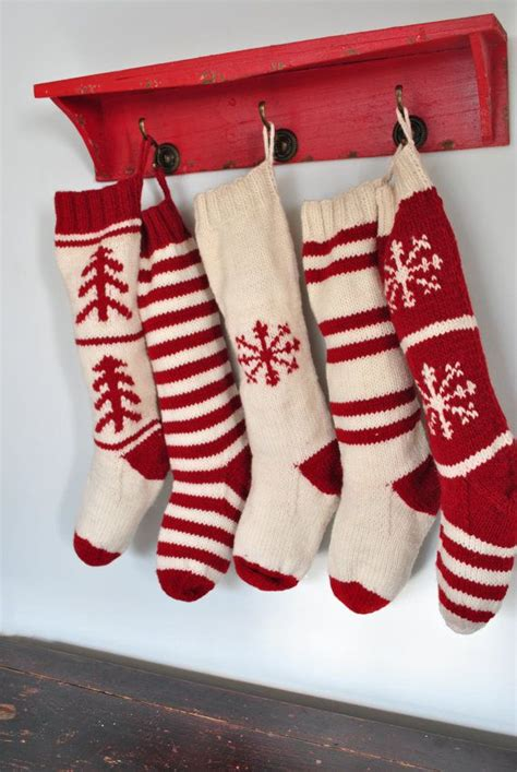 images of knitted christmas stockings hand knit christmas stockings in traditional red by