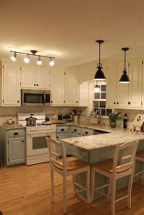 Small Kitchen Lighting Ideas Pictures Kitchen Renovation Different Color Cabinets On Bottom Top Cabinets Match Ceiling Paint Home