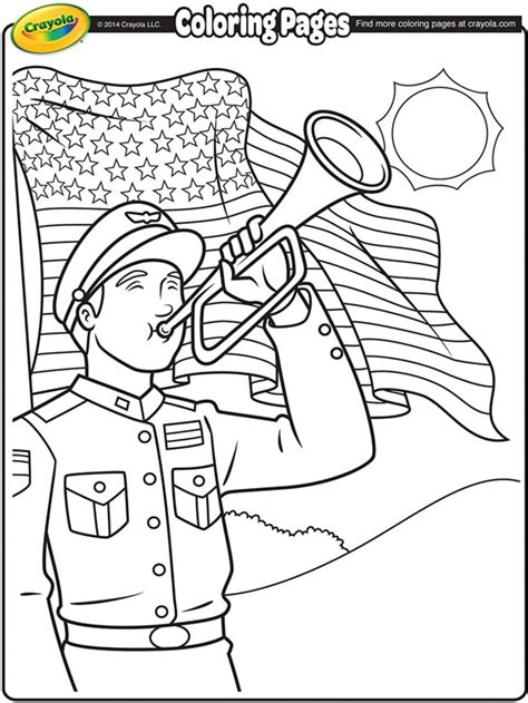 Memorial Day Coloring Pages by Memorial Day Bugler Coloring Page Crayola