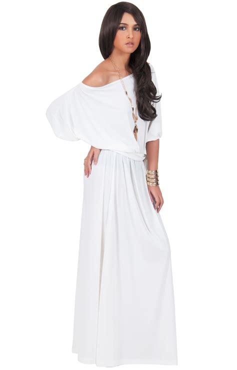 MACY   One Shoulder 3/4 Sleeve Long Maxi Dress