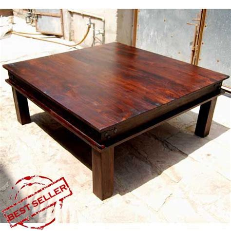 rustic large square coffee table solid wood cocktail table