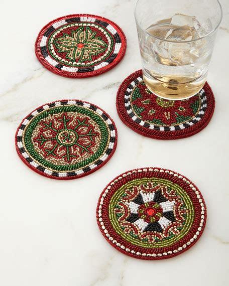 glass beaded coasters mackenzie childs festivity beaded coasters set of 4