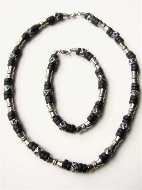 mens beaded jewelry designs black surfer style beaded necklace bracelet mens