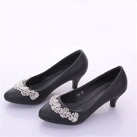 Black Simple Heels 5cm black color rhinestone almond toe bridal wedding shoes 5cm heels dress shoes gorgeous