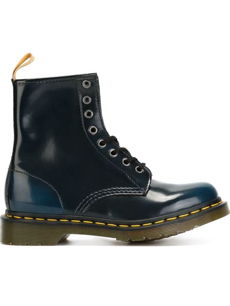 boots blue dr martens lace up combat boots in blue lyst