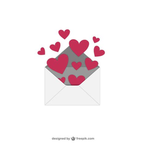 s day hearts with envelope vector free