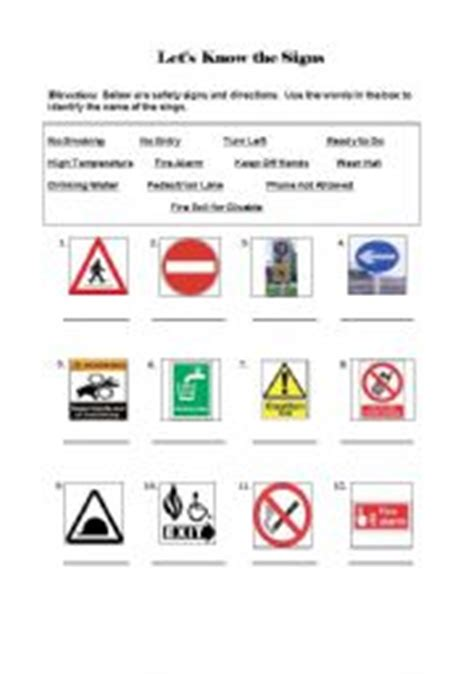 Safety Signs Worksheets by Worksheet Safety Signs