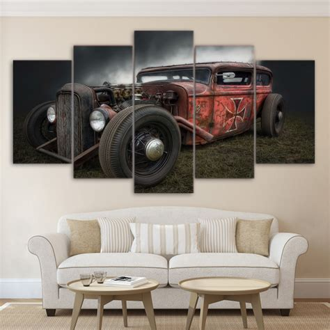 hot rod home decor painting canvas wall art pictures frame home decor for