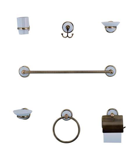kit accessori bagno accessori da bagno kit 7 pz in ottone bronzato e ceramica