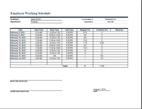 How To Make A Work Schedule For Employees Employee Work Schedule Format Word Excel Templates