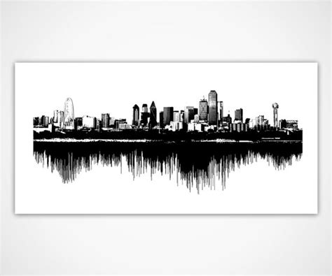 dallas skyline art sounds of the city sound wave cityscape