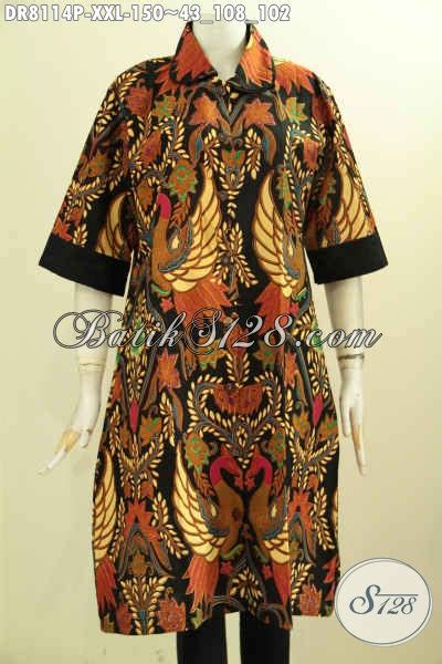 Dress Anak Krah Bulat model baju batik wanita badan gemuk dress batik jumbo