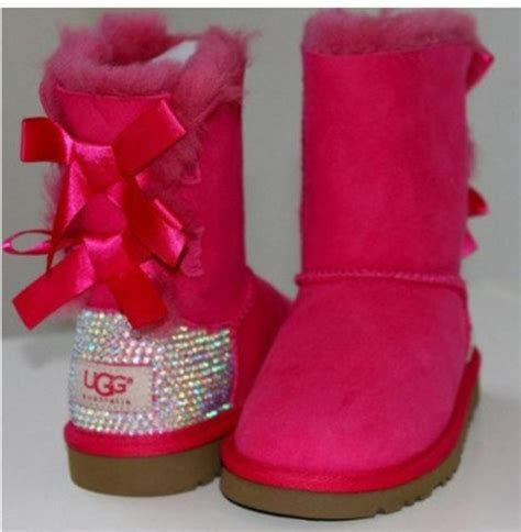 pink ugg boots with bows shoes boots ugg boots pink sparkle ugg boots
