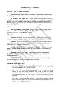 Sample Memorandum Of Agreement Template Memorandum Of Agreement