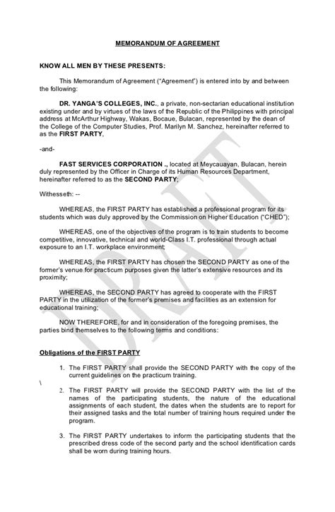 Memorandum Of Agreement Letter Format Memorandum Of Agreement