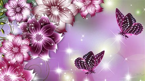 Fleur papillon beautés Papier peint   AllWallpaper.in