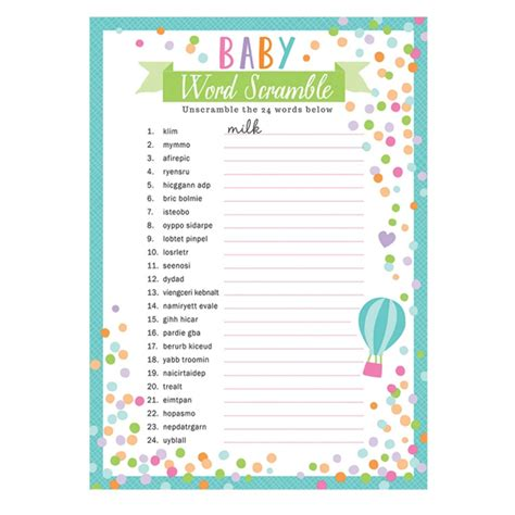 Scrabble Baby Shower by 24 X Sheets Baby Shower Word Scramble Unisex