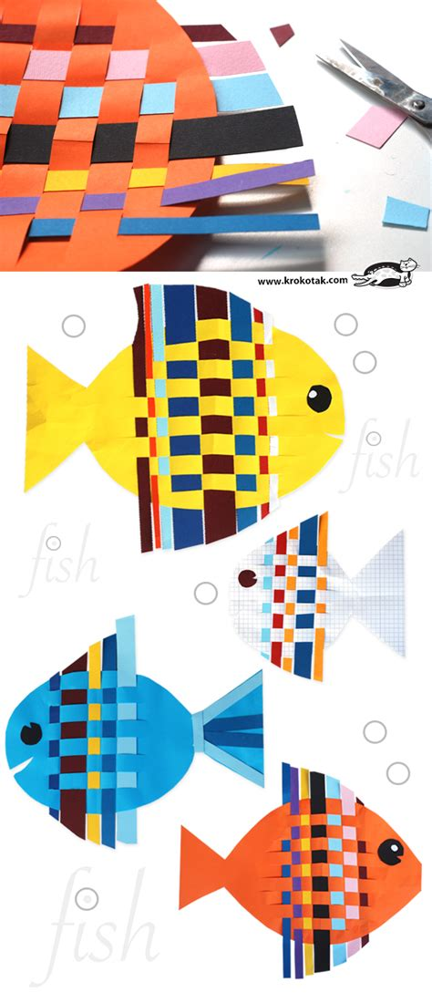 Color Paper Craft - fish from interwoven colored paper strips craft summer