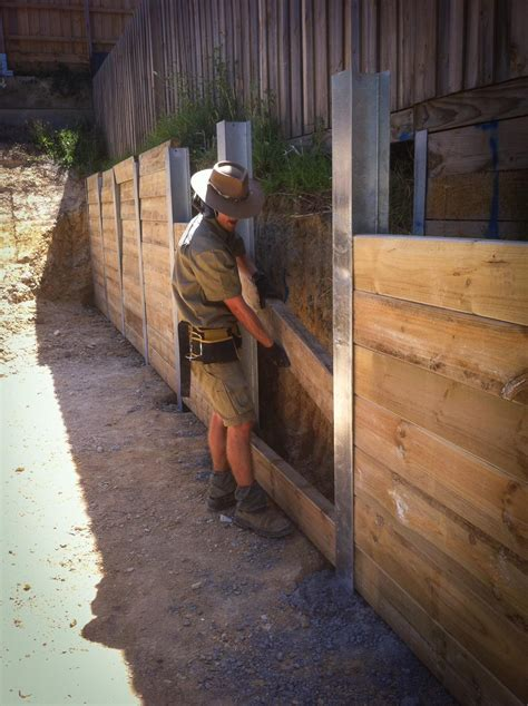 Sleeper Retaining Wall Construction by Retaining Walls Sleeper Walls Rock Walls Pcb Earthmoving