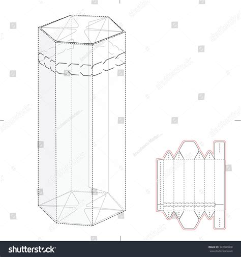 hexagonal box die cut template stock vector 342103868