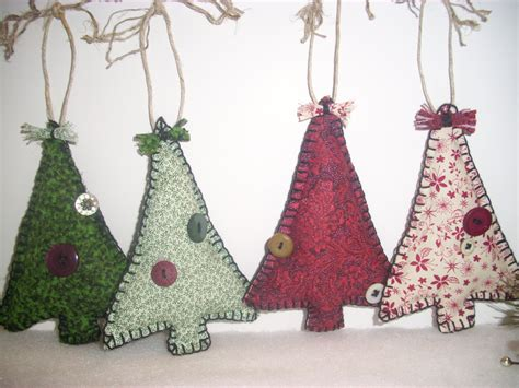 primitve christmas tree fabric ornaments by