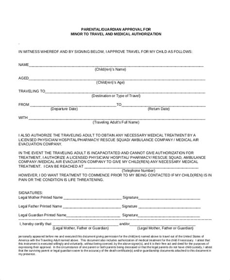 authorization letter for minor to travel with grandparents sle travel consent forms 10 free documents in pdf doc