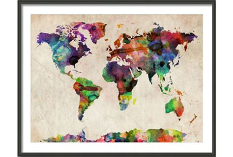 map picture frame world map watercolor medium wooden frame