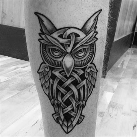 43 nice celtic owl tattoo designs and ideas golfian com cool celtic owl tattoo design on leg for men