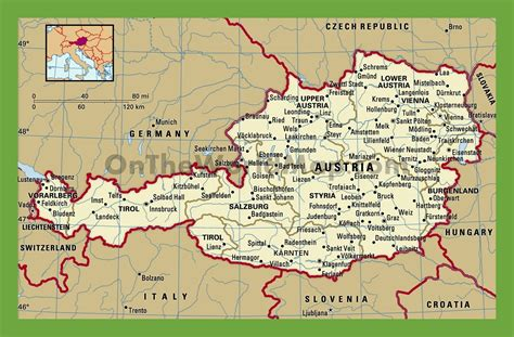 austria map with cities political map of austria with cities