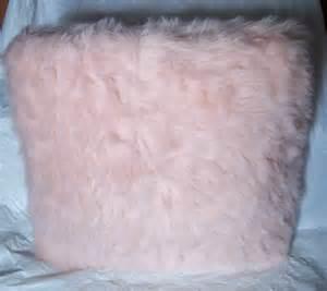 princess pink faux fur fuzzy throw pillow