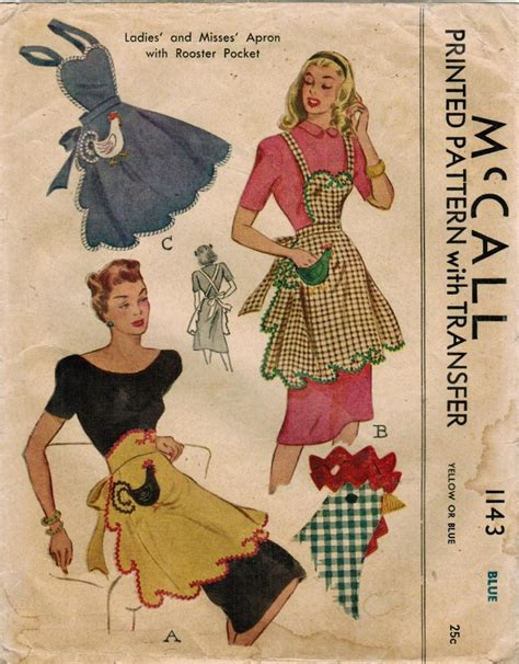 sewing vintage apron 1940s mccall 1143 vintage sewing pattern misses apron