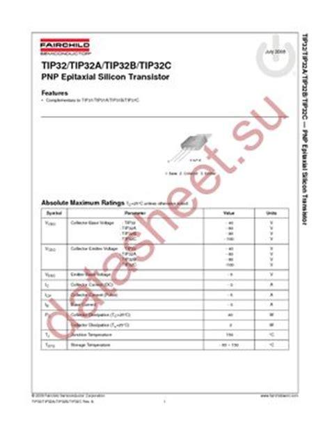 transistor tip32c datasheet tip32c даташит fairchild semiconductor бесплатно скачать в pdf datasheet tip32c техническое