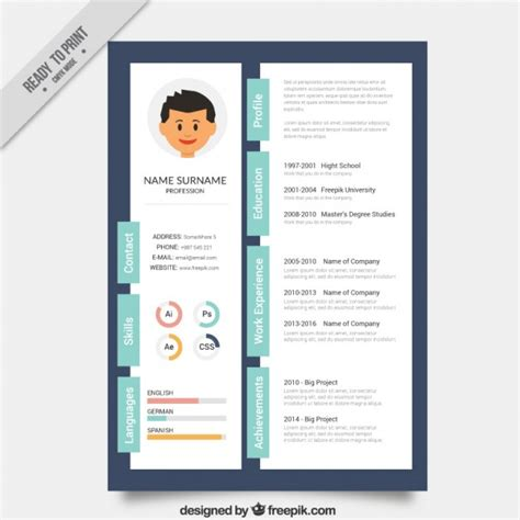 Creative Free Resume Templates by Designer Creative Resume Template Vector Premium