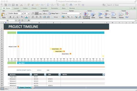 9 Project Timeline Excel Templates Excel Templates Free Simple Project Timeline Template Excel