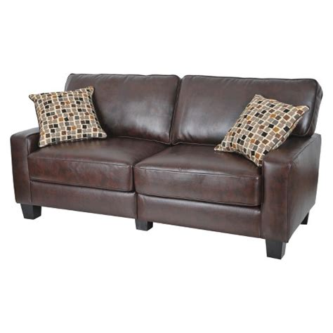 serta palisades leather 78 inch sofa serta 174 rta palisades collection 78 quot sofa in chestnut brown
