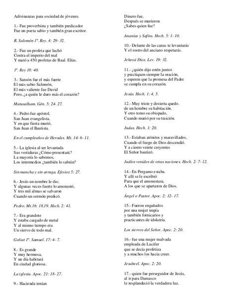 preguntas biblicas para sociedad de jovenes 70 adivinanzas b 237 blicas para sociedad de j 243 venes