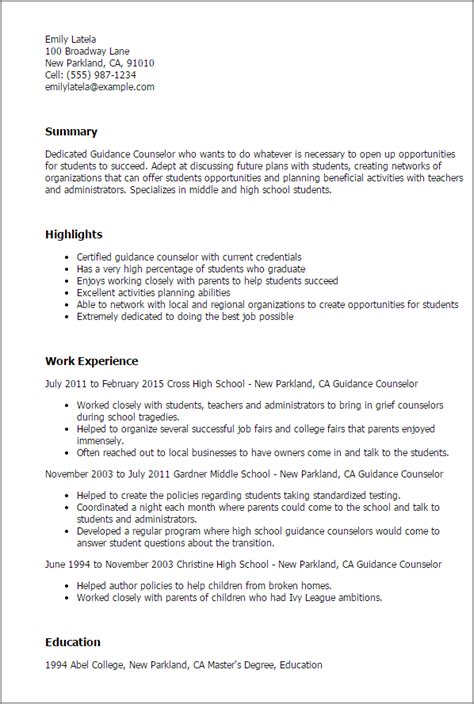 Resume For Graduate School Counseling Professional Guidance Counselor Templates To Showcase Your Talent Myperfectresume